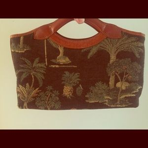 Tommy Bahama tapestry and leather purse.